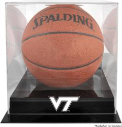 Virginia Tech Hokies Black Base Team Logo Basketball Display Case with Mirrored Back