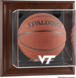 Virginia Tech Hokies Brown Framed Logo Wall-Mountable Basketball Display Case