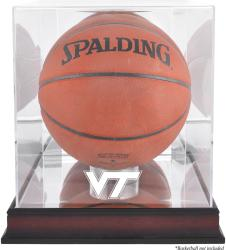 Virginia Tech Hokies Mahogany Antique Finish Logo Basketball Display Case with Mirror Back