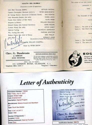 Vivien Leigh Jsa Hand Signed Theatre Program Authentic Autograph
