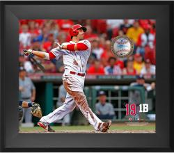 "Joey Votto Cincinnati Reds Framed 20"" x 24"" Gamebreaker Photograph with Game-Used Ball"