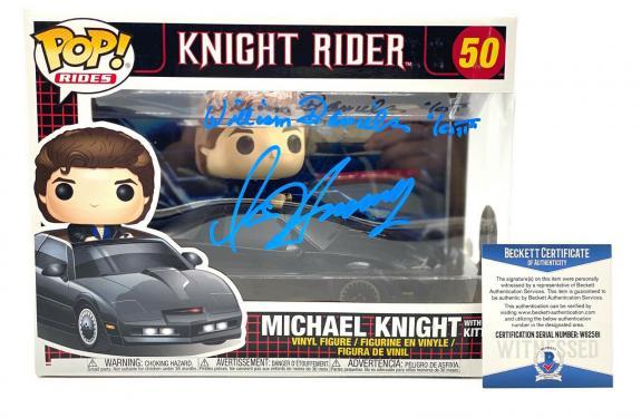 """W Daniels D Hasselhoff """"knight Rider"""" Autograph Signed 'kitt' Funko Pop Beckett"""