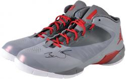 Dwyane Wade Miami Heat Autographed Gray & Red Shoes with Red Laces - Mounted Memories