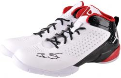 Dwyane Wade Miami Heat Autographed Logo Basketball Shoes - White/Black - Mounted Memories