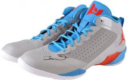 Dwyane Wade Miami Heat Autographed Gray & Light Blue Shoes with Orange Logo and Light Blue Laces - Mounted Memories