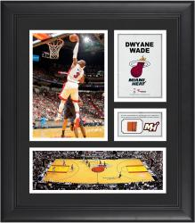 Dwyane Wade Miami Heat Framed 15'' x 17'' Collage with Team-Used Ball - Mounted Memories