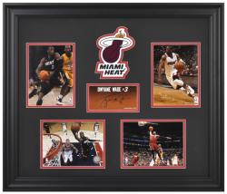 Dwyane Wade Miami Heat 4-Photograph Framed Collage with Facsimile Signature & Logo-Limited Edition of 1000 - Mounted Memories