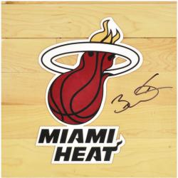 Dwyane Wade Miami Heat Autographed 12'' x 12'' Floor Piece with Logo - Mounted Memories