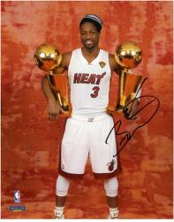 "Dwyane Wade Miami Heat 2012 Finals Champs Autographed 8"" x 10"" 2 Trophies Photograph"
