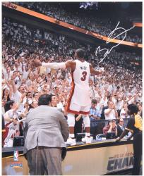 "Dwyane Wade Miami Heat 2012 Finals Autographed 16"" x 20"" On Table Photograph - Mounted Memories"