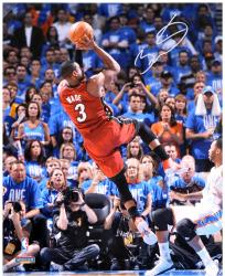 "Dwyane Wade Miami Heat 2012 Finals Autographed 16"" x 20"" Falling Jump Shot Photograph"