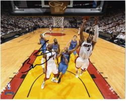 "Dwyane Wade Miami Heat 2012 Finals Champs Autographed 8"" x 10"" Off Glass Layup Photograph"