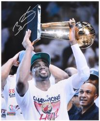 "Dwyane Wade Miami Heat 2012 Finals Trophy Over Head Autographed 16"" x 20"" Photograph - Mounted Memories"