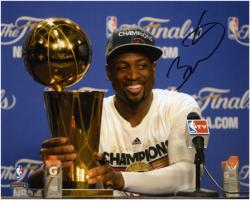 "Dwyane Wade Miami Heat 2012 Finals Champs Autographed 8"" x 10"" Trophy Press Conference Photograph"