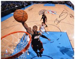 "Dwyane Wade Miami Heat 2012 Finals Autographed 16"" x 20"" Horizontal Dunk Photograph - Mounted Memories"