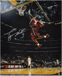 "Dwyane Wade Miami Heat Autographed 16"" x 20"" vs San Antonio Spurs Photograph - Mounted Memories"