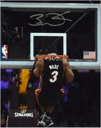 Dwyane Wade Miami Heat Autographed 8'' x 10'' Head Through Rim Photo - Mounted Memories
