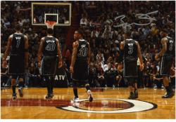 "Dwyane Wade Miami Heat Autographed 8"" x 12"" with Teammates Photograph"