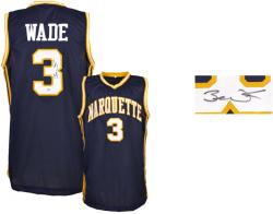 Dwyane Wade Marquette Golden Eagles Autographed Blue Jersey - Mounted Memories