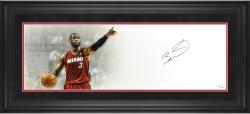 Dwyane Wade Miami Heat Framed Autographed 10'' x 30'' Floor General Photograph - Mounted Memories