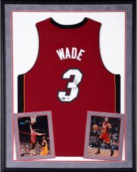 Dwyane Wade Miami Heat Deluxe Framed Autographed Adidas Swingman Red Jersey