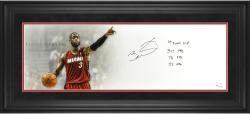 Dwyane Wade Miami Heat Framed Autographed 10'' x 30'' Floor General Photograph with Multiple Inscriptions-Limited Edition of 10 - Mounted Memories