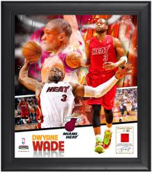 "Dwyane Wade Miami Heat Framed 15"" x 17"" Collage with Game-Used Jersey-Limited Edition of 503 - Mounted Memories"