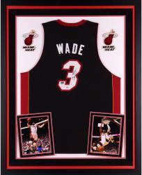 Dwyane Wade Miami Heat Autographed Deluxe Framed Adidas Swingman Black Jersey