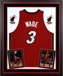 Dwyane Wade Miami Heat Autographed Deluxe Framed Adidas Swingman Red Jersey