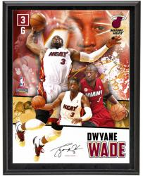 Dwyane Wade Miami Heat Sublimated 10.5'' x 13'' Player Collage Photograph Plaque - Mounted Memories