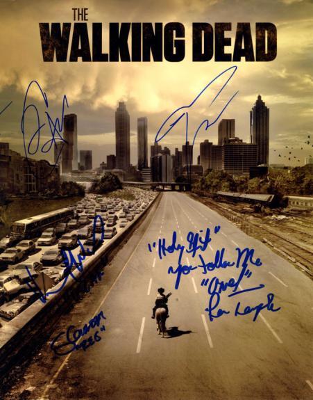 Walking Dead Cast X5 Autographed Signed 11x14 Poster Photo AFTAL UACC RD COA