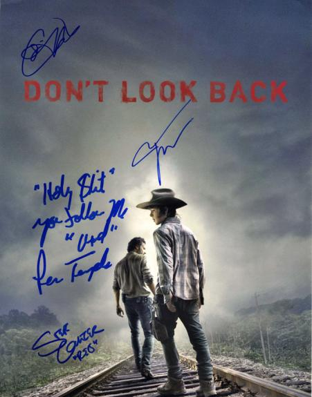 Walking Dead Signed X4 Dont Look Back 11X14 Poster Photo UACC RD COA AFTAL