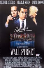 Wall Street Charlie Sheen Autographed/Signed 11x17 Movie Photo PSA/DNA