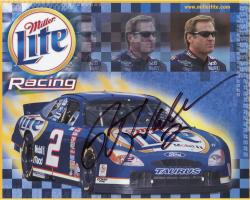 Rusty Wallace Autographed 8'' x 10'' Miller Lite In Car Photograph