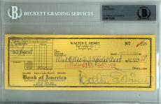 Walt Disney Certified Authentic Autographed Signed Check Beckett BAS