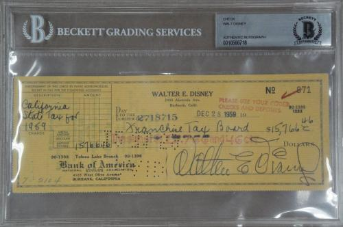 Walt Disney Hand Signed Autographed Personal Check 1959 Taxes Beckett Slabbed