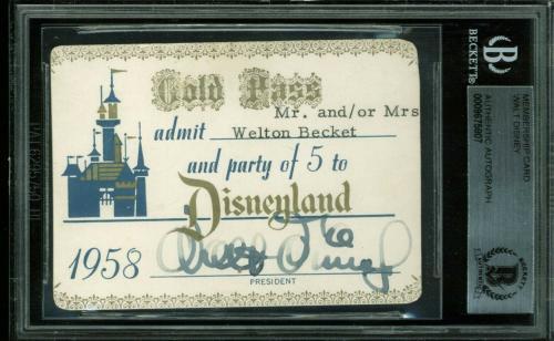 Walt Disney Signed 1958 Disneyland Gold Pass Membership Card BAS