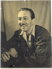 Walt Disney Signed Autographed 7x9 Photograph Beckett BAS Authentic