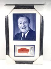 Walt Disney Signed Fabric + 8 x 10 B&W Photo Framed Display PSA/DNA Auto Slabbed