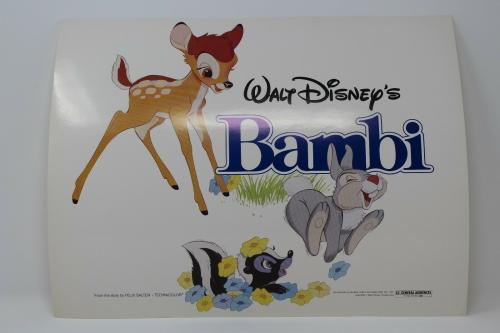 Walt Disney's Bambi & Thumper & Flower Title Card Lobby Card Great Condition !!!