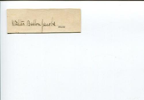 Walter Ballou Jacobs Brown University Author Signed Autograph