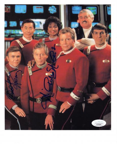 "WALTER KOENIG as CHEKOV and NICHELLE NICHOLS as UHURA on TV Series ""STAR TREK""  JSA COA - Signed 8x10 Color Photo"
