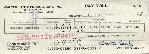 Walter Lantz Hand Signed Payroll Check+coa       Woody Woodpecker Cartoonist