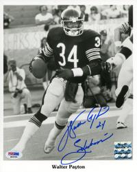"Walter Payton Chicago Bears Autographed 8"" x 10"" Action Photograph with ""Sweetness"" Inscription (PSA/DNA)"