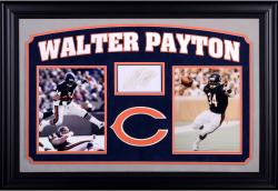 "Walter Payton Chicago Bears Autographed Cut Deluxe Horizontal Framing 3"" x 5"" PSA Slab"