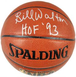 Bill Walton Boston Celtics Autographed Pro Basketball with HOF 93 Inscription - Mounted Memories