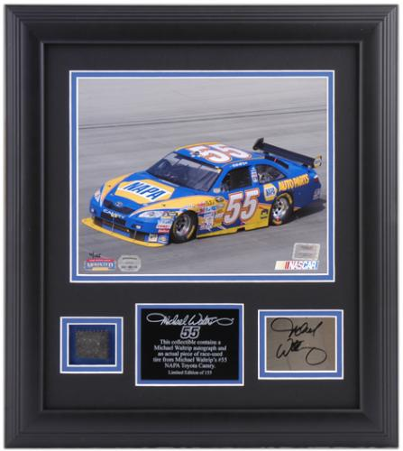 "Michael Waltrip Framed 8"" x 10"" Photograph with Autographed Plate and Tire-Limited Edition of 155 - Mounted Memories"