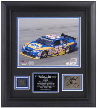 "Michael Waltrip Framed 8"" x 10"" Photograph with Autographed Plate and Tire-Limited Edition of 155"