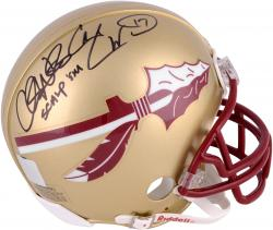 Fanatics Authentic Autographed Chris Weinke, Charlie Ward Florida State Seminoles Riddell Mini Helmet with Scalp Em' Inscription
