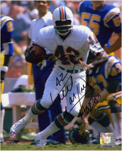 """Paul Warfield Miami Dolphins Autographed 8"""" x 10"""" Run With Ball Photograph with HOF 83 Inscription"""